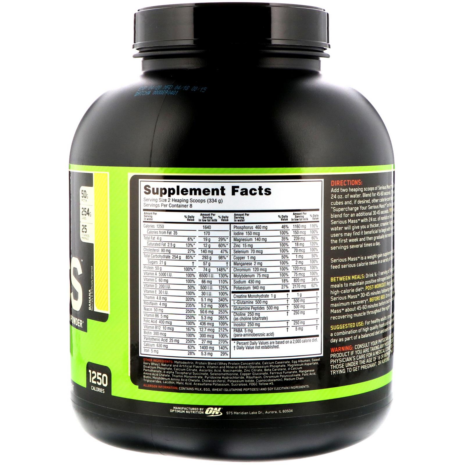 f6af9fd83 Optimum Nutrition, سيرياس ماس، مسحوق اكتساب الوزن عالي البروتين ...