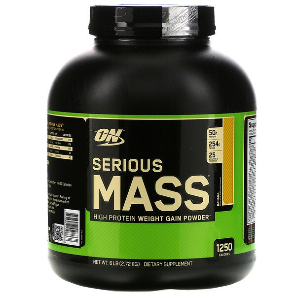 Optimum Nutrition, Serious Mass, High Protein Weight Gain Powder, Banana, 6 lbs (2.72 kg)