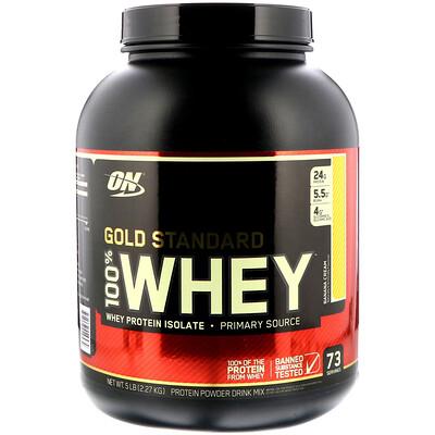 Фото - 100% Whey Gold Standard, со вкусом банана, 5 фунтов (2,27 кг) gold standard 100 % whey со вкусом соленой карамели 819 г 1 81 фунта