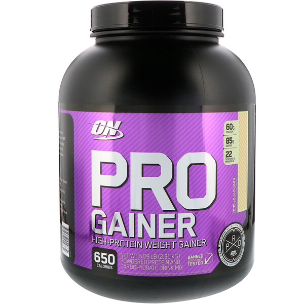Optimum Nutrition, PRO GAINER, High-Protein Weight Gainer, Vanilla Custard, 5.09 lbs (2.31 kg)