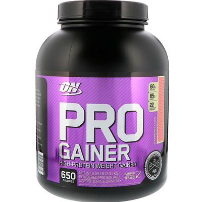 Pro Gainer, High-Protein Weight Gainer, Strawberry Cream, 5.09 lbs (2.31 kg)