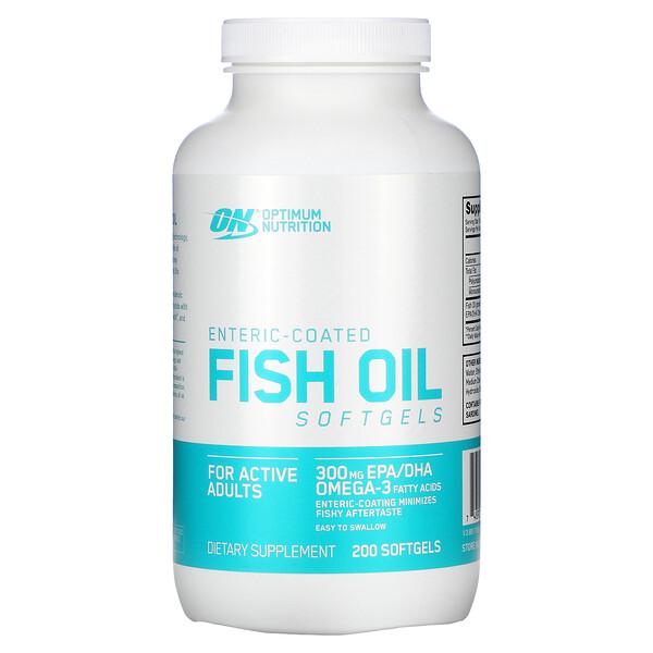 Optimum Nutrition, زيت سمك مغلف معوي، 200 حبة