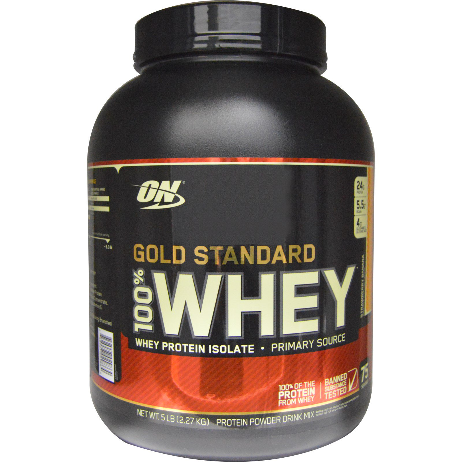 Optimum Nutrition, Gold Standard, 100% Whey, Strawberry Banana, 5 lbs (2.27 kg) - iHerb.com