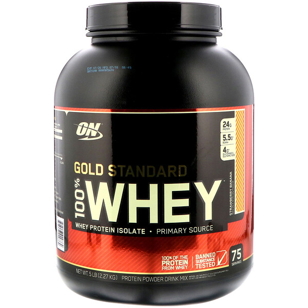 Optimum Nutrition, Gold Standard 100% Whey, Strawberry Banana, 5 lbs (2.27 kg)