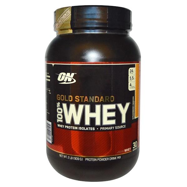 Optimum Nutrition, Gold Standard 100% Whey, Strawberry Banana, 2 lbs (909 g)