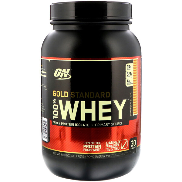 Optimum Nutrition, Gold Standard 100% Whey, Strawberry Banana, 2 lbs (907 g)