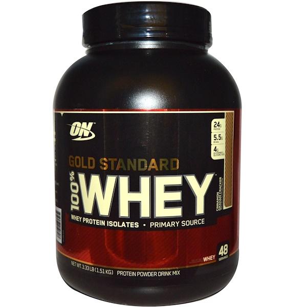 Optimum Nutrition, Gold Standard, 100% Whey, Cinnamon Graham Cracker, 3.33 lbs (1.51 kg) (Discontinued Item)