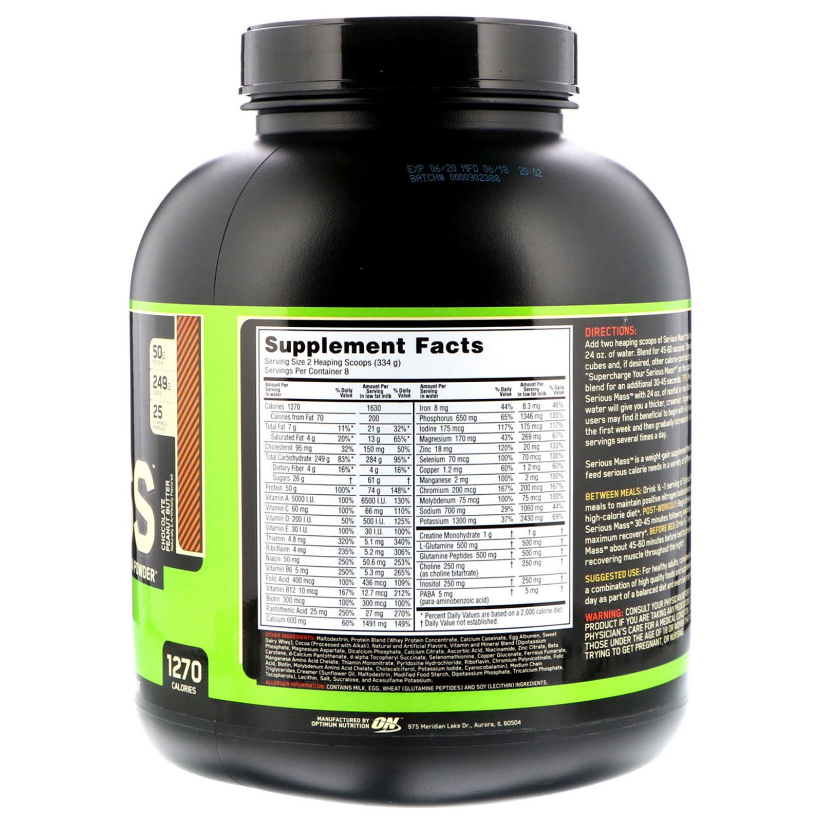 Optimum Nutrition, Serious Mass, High Protein Weight Gain