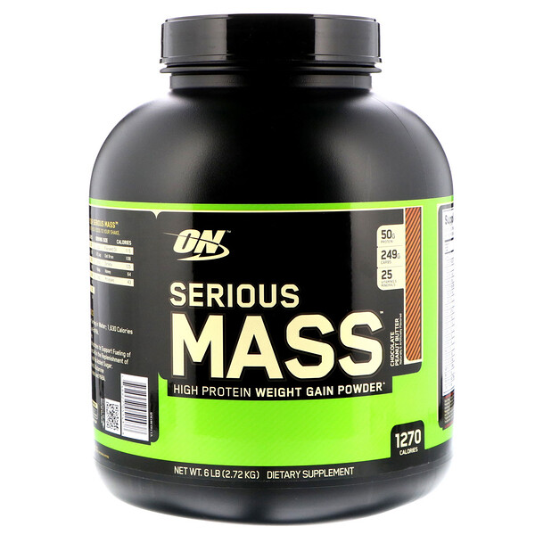 Optimum Nutrition, Serious Mass, High Protein Weight Gain Powder, Chocolate Peanut Butter, 6 lbs (2.72 kg)