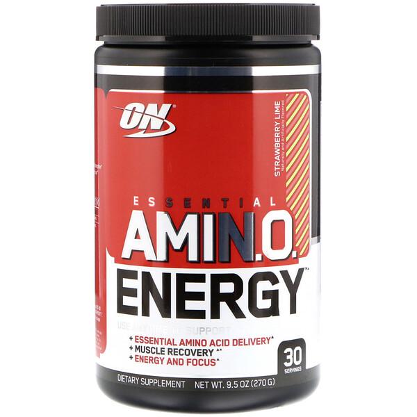 Optimum Nutrition, ESSENTIAL AMIN.O. ENERGY, Strawberry Lime, 9.5 oz (270 g)