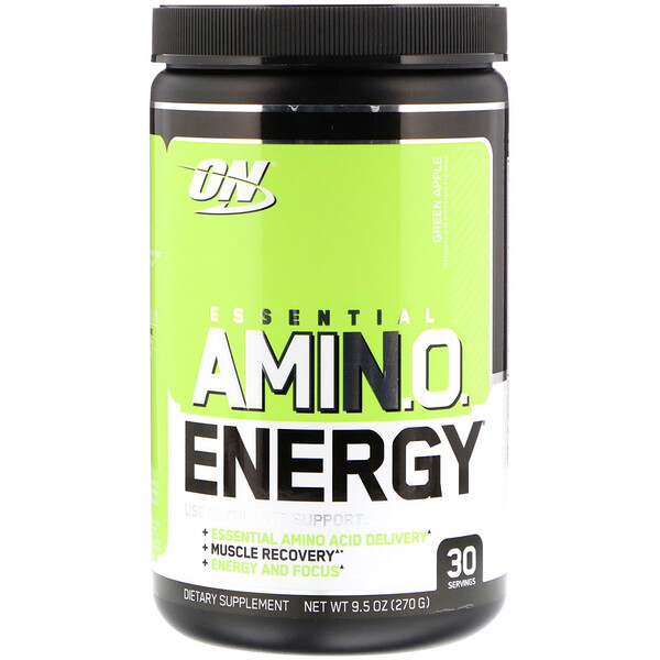 Optimum Nutrition, Essential Amino Energy, Maçã Verde, 9.5 oz (270g)