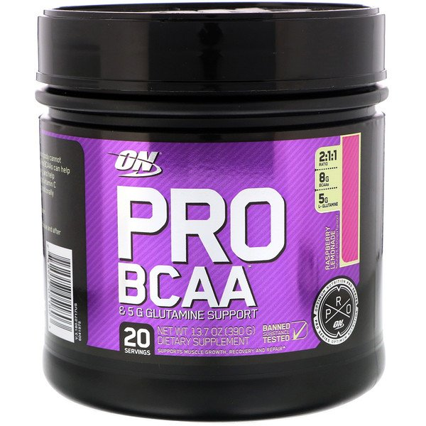 Optimum Nutrition, Pro BCAA, Raspberry Lemonade, 13.7 oz (390 g)