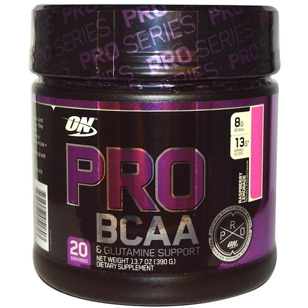 保健品氨基酸支鏈氨基酸(支鏈氨基酸):Optimum Nutrition, Pro BCAA, Raspberry Lemonade, 13、7 oz (390 g)