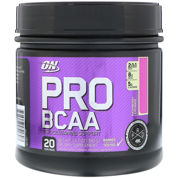 Optimum Nutrition, プロシリーズ, プロBCAA&グルタミンサポート, ラズベリーレモネード, 13.7オンス (390 g)