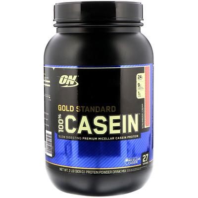Фото - Gold Standard, 100 % Casein, со вкусом клубничного мороженого, 909 г (2 фунта) gold standard 100 % whey со вкусом соленой карамели 819 г 1 81 фунта