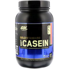 Optimum Nutrition, Gold Standard、100%カゼイン、ストロベリークリーム、2 lb (909 g)
