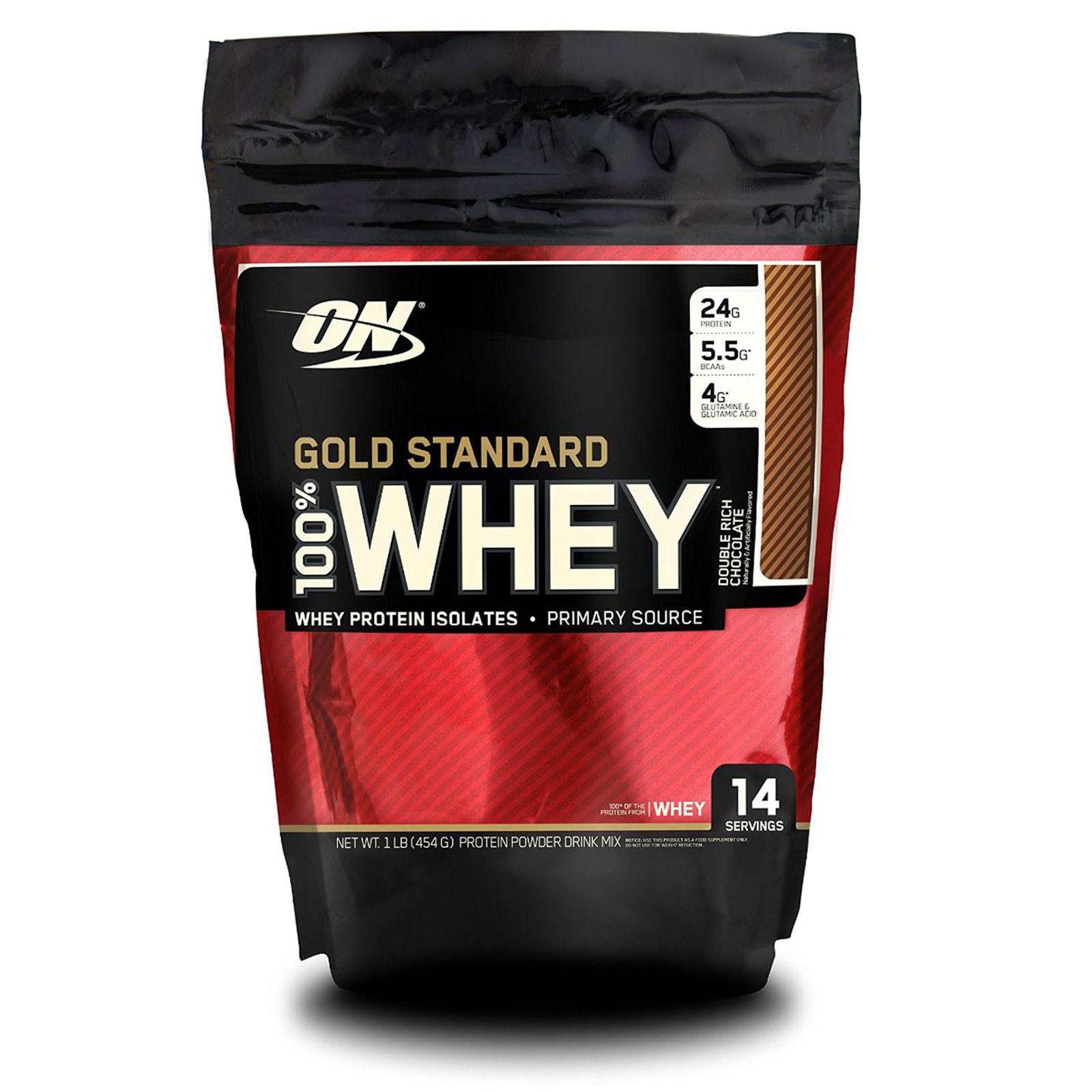 Optimum Nutrition, 100%-ная молочная сыворотка «Золотой стандарт», двойной обильный шоколад, 1 фунт (454 г)