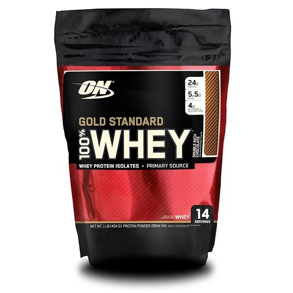 Optimum Nutrition, ゴールドスタンダード100% ホエイ、 ダブル リッチ チョコレート、 1 lb (454 g)