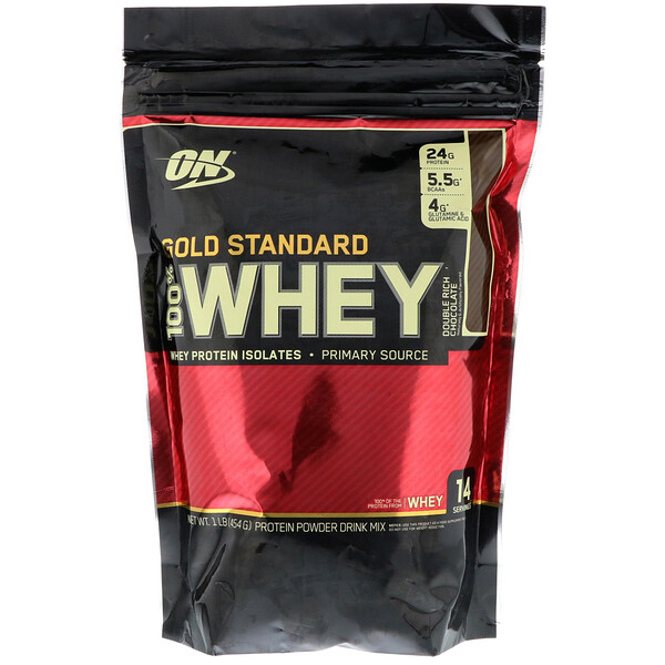 Optimum Nutrition, Regla de Oro 100% Suero, Rico chocolate doble, 1 libra (454 g)