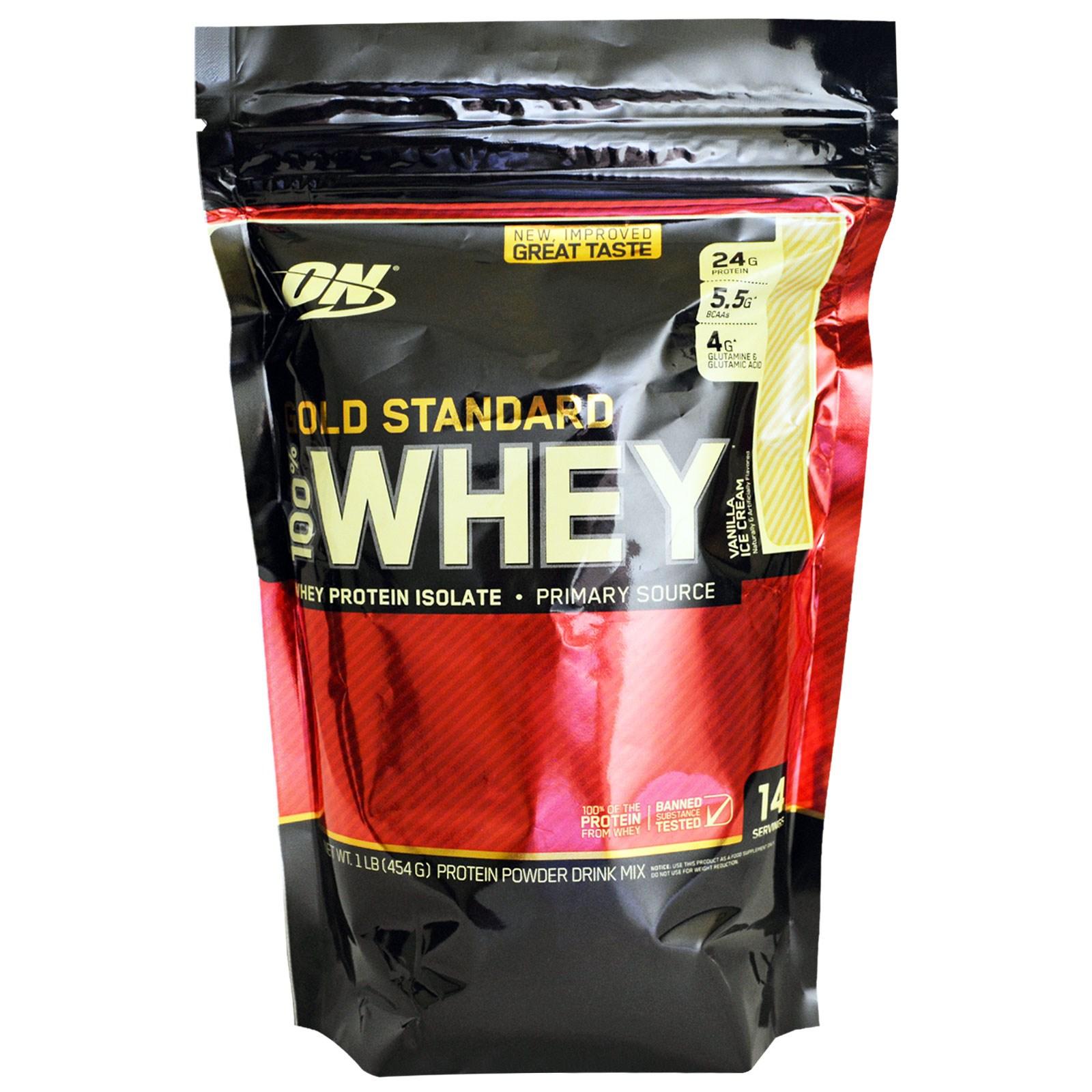 Optimum Nutrition, 100%-ная молочная сыворотка «Золотой стандарт», ванильное мороженое, 1 фунт (454 г)