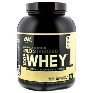 Optimum Nutrition, ゴールドスタンダード、天然香料使用、100%ホエイ、ナチュラル、バニラ、4.8 lbs (2.18 kg)