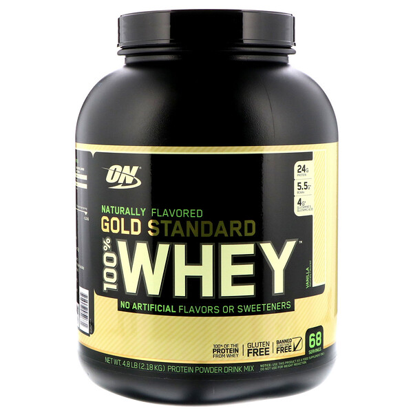 Gold Standard 100% Whey, Naturally Flavored, Vanilla, 4.8 lbs (2.18 kg)