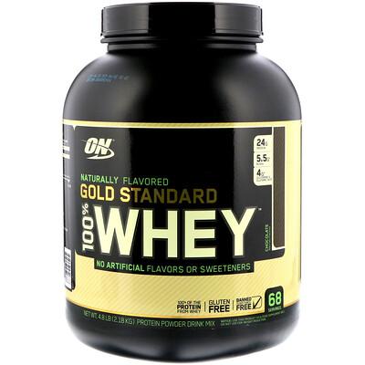 Купить Optimum Nutrition Gold Standard 100% Whey, с натуральным ароматизатором со вкусом шоколада, 2, 18 кг (4, 8 фунта)