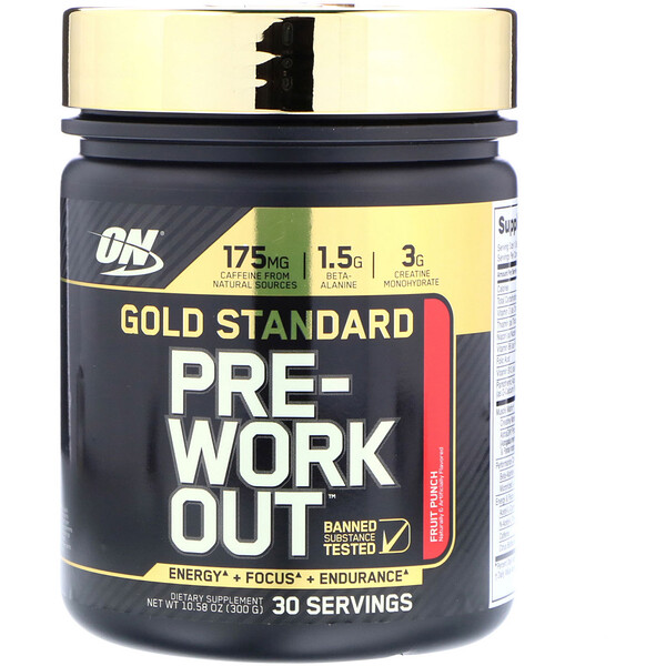 Optimum Nutrition, Gold Standard, Pre-Workout, Fruit Punch, 10.58 oz (300 g) (Discontinued Item)