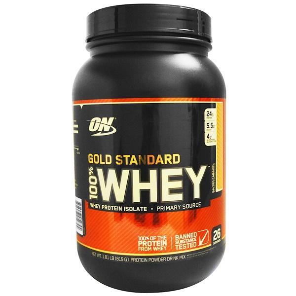 Optimum Nutrition, 黃金標準 100%乳清,鹹味焦糖,1、81 lb (819 g)