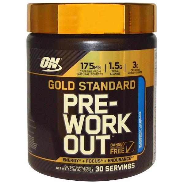 Optimum Nutrition, ゴールドスタンダード, プレワークアウト, ブルーベリー・レモネード, 10.58 オンス (300 g)