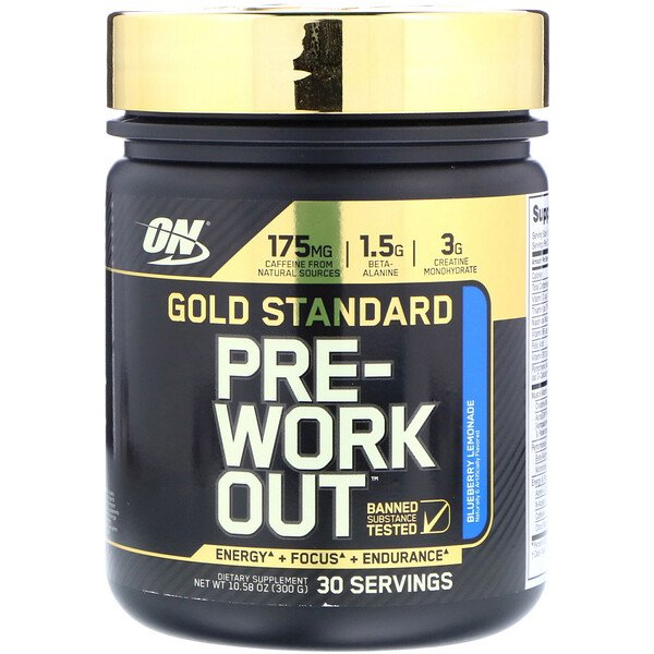 Optimum Nutrition, Gold Standard Pre-Workout, Blueberry Lemonade, 10.58 oz (300 g)