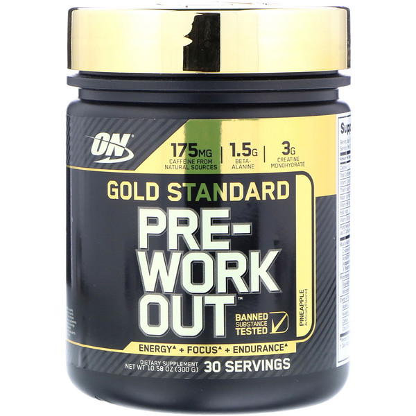 Optimum Nutrition, Gold Standard Pre-Workout, Pineapple, 10.58 oz (300 g) (Discontinued Item)