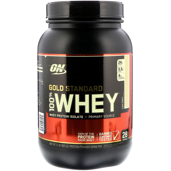 Optimum Nutrition, Gold Standard 100% Whey, Cake Donut, 2 lbs (907 g) (Discontinued Item)