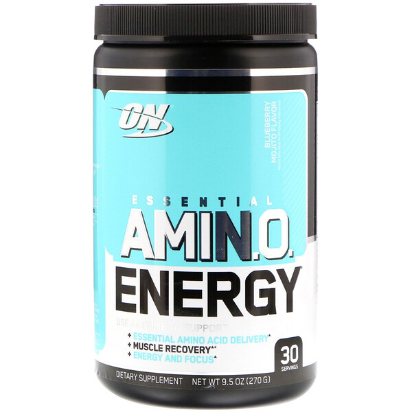 Optimum Nutrition, Essential Amino Energy, Sabor a mojito de arándanos, 9,5 oz (270 g)
