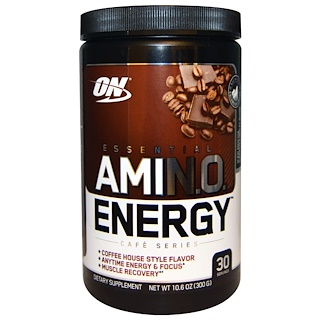 Optimum Nutrition, Essential Amino Energy, Iced Mocha Каппучино Flavor, 10,6 унций (300 г)