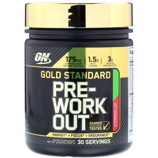 Optimum Nutrition, Gold Standard Pre-Workout, Strawberry Lime, 10.58 oz (300 g) (Discontinued Item)