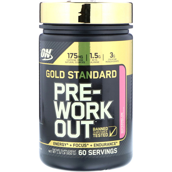 Optimum Nutrition, Gold Standard Pre-Workout, Watermelon, 1.32 lb (600 g) (Discontinued Item)