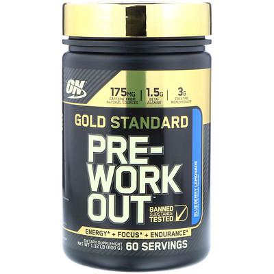 Фото - Gold Standard, Pre-Workout, со вкусом голубики и лимонада, 600 г (1,32 фунта) gold standard 100 % whey со вкусом соленой карамели 819 г 1 81 фунта