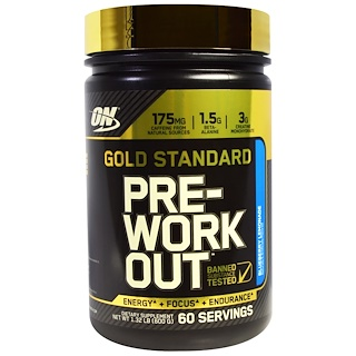 Optimum Nutrition, Gold Standard, Pre-Workout, Blueberry Lemonade, 1.32 lbs (600 g)