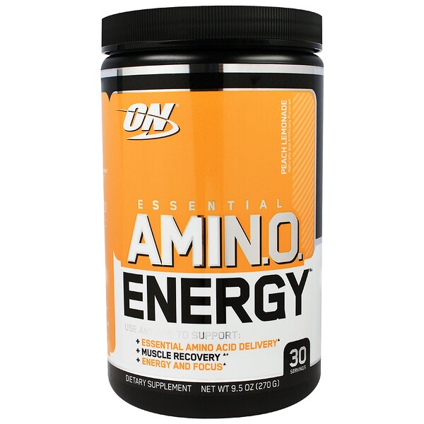 Optimum Nutrition, ESSENTIAL AMIN.O. ENERGY, Peach Lemonade,  9.5 oz (270 g)