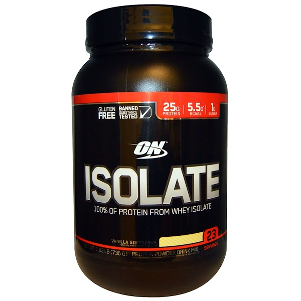 Optimum Nutrition, Isolate, Vanilla Softserve, 1.62 lbs (736 g) (Discontinued Item)
