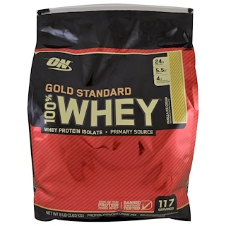 Optimum Nutrition, ゴールドスタンダード、100% ホエイ、バニラアイスクリーム、8 オンス (3.63 kg)
