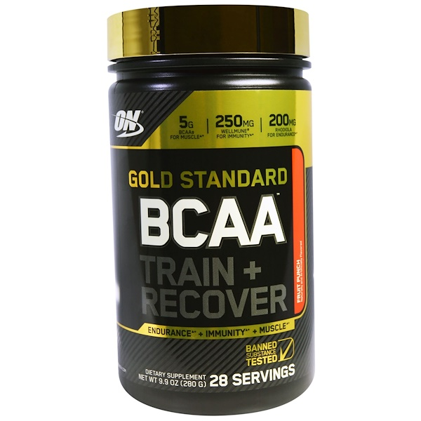 Optimum Nutrition, 黃金標準,BCAA,訓練 + 恢復,水果混合飲料,9、9 oz (280 g)