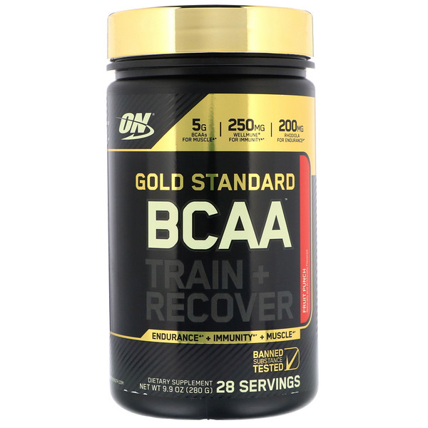 Optimum Nutrition, Gold Standard, BCAA Train + Recover, Fruit Punch, 9.9 oz (280 g) (Discontinued Item)