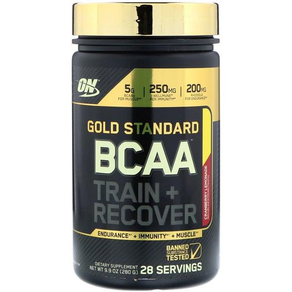 Optimum Nutrition, Gold Standard, аминокислоты с разветвлённой цепью, тренировка + восстановление, клюквенный лимонад, 9,9 унц. (280 г)
