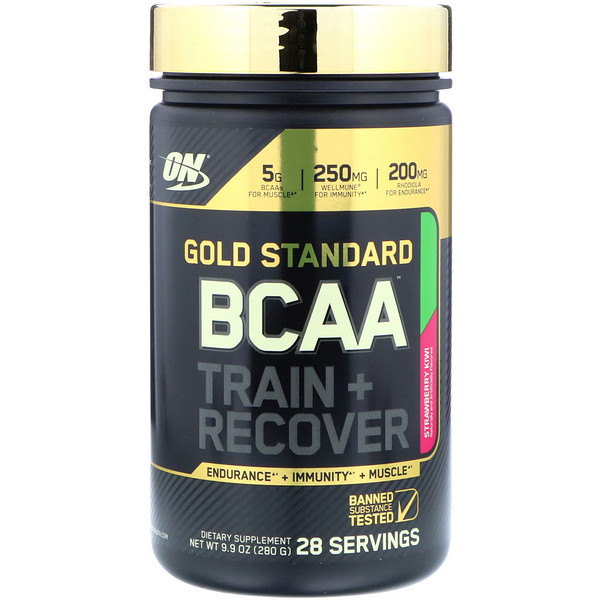 Optimum Nutrition, Gold Standard, BCAA Train + Recover, Strawberry Kiwi, 9.9 oz (280 g)