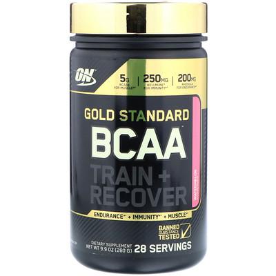 Фото - Золотой стандарт BCAA (аминокислоты с разветвленной цепью) Тренировка + Восстановление, Арбуз, 9.9 унции (280 г) alpha amino аминокислоты с разветвлённой цепью для производительности фруктовый пунш 13 4 унц 381 г