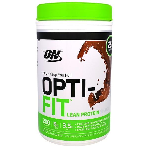 Optimum Nutrition, Opti-Fit Lean Protein Shake, Chocolate, 1.83 lb (832 g) (Discontinued Item)