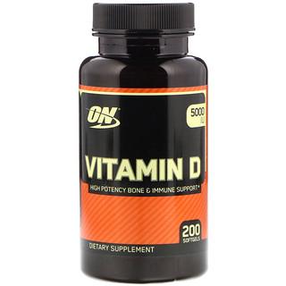 Optimum Nutrition, Vitamin D, 5000 IU, 200 Softgels