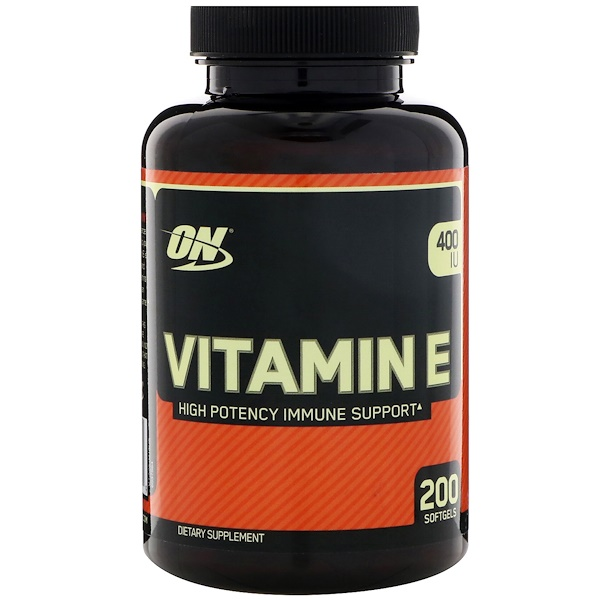 Optimum Nutrition, Vitamin E, 400 IU, 200 Softgels (Discontinued Item)